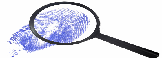 magnify glass and finger print